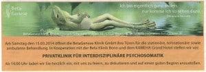 """Anzeige aus der Verlagsbeilage """"Gesundheit"""" des General-Anzeigers Bonn vom 11. März 2014"""