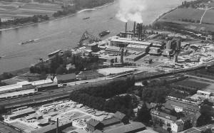 Ein Panorama von Oberkassel, zirka Mitte der 60er Jahre. Quelle: Archiv Heimatverein Bonn-Oberkassel e.V.